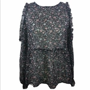 American Eagle Outfitter Sheer Black Floral Blouse